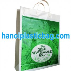 Rigid handle poly bag