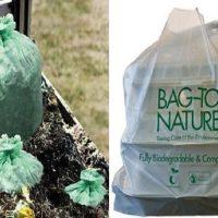 How do biodegradable plastic bags degrade in environment?